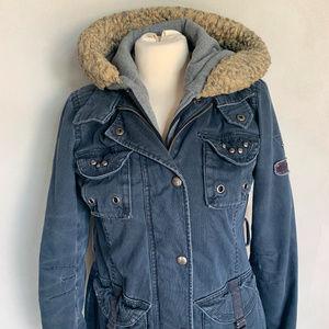 Buffalo David Bitton Blue Cotton Hoodie Jacket